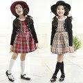 Корейская детская одежда платье 2-7 Т девушки плед платья Питер Пэн воротник Англия стиль девушки вечернее платье дети девушки школы платье