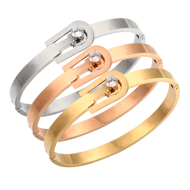 Crystal Bracelets & Bangles Unique Clasp Design Rose Gold Open Cuff Bracelet for Women Ladies Fashion Brand Jewelry Pulseira
