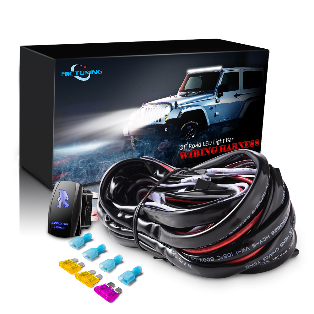 MICTUNING LED Light Bar Wiring Harness Fuses With High Quality 40Amp Relay ON-OFF SASQIATCH Rocker Switch Blue 2 Lead 5 Colors
