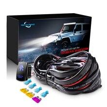 MICTUNING 16AWG 180W LED Licht Bar Kabelbaum Sicherungen Mit Hohe Qualität 40Amp Relais AUF OFF Rocker Schalter blau 2 Blei 5 Farben