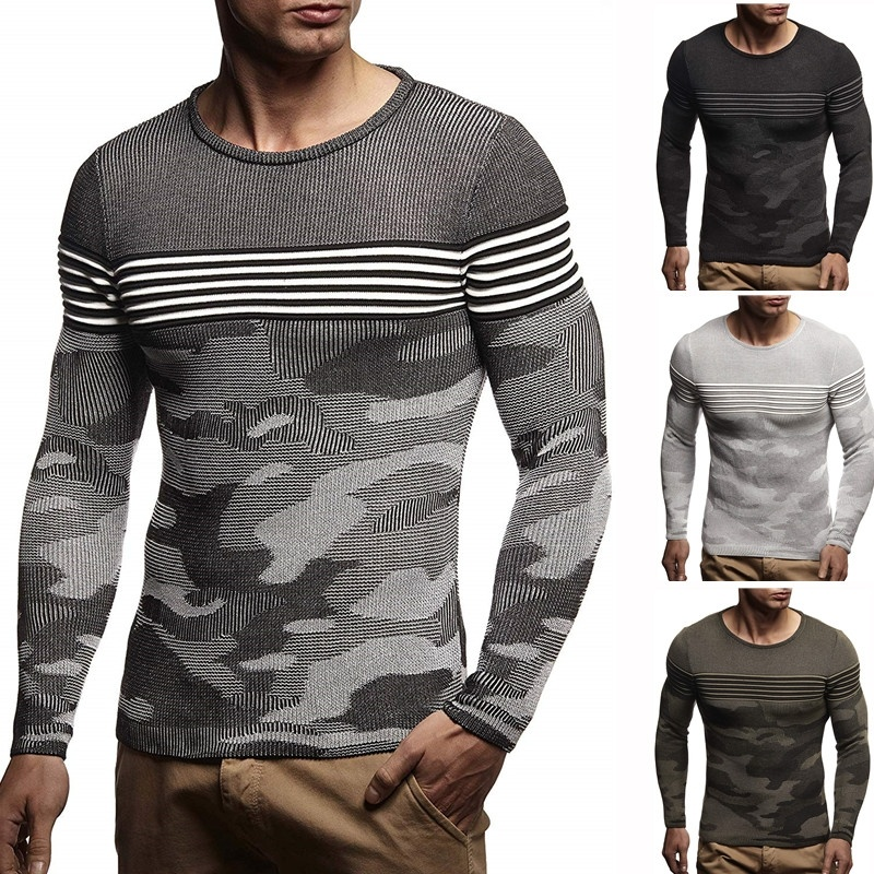 ZOGAA Pullover Men Brand Clothing 2019 Autumn Winter Wool Slim fit Sweater Casual Striped Pull Jumper distressed sweater