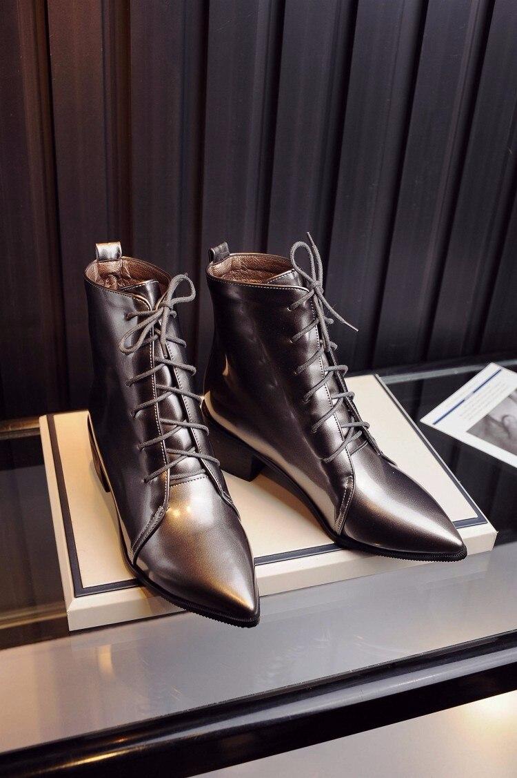 Grey 47 Mi Botas Noir mollet Lacets silver Hiver Court Taille Eu34 Bottes black 48 Femininas Martin Chaussures Carré Hautes Talon Mi Haut Grande RqAgdnxC