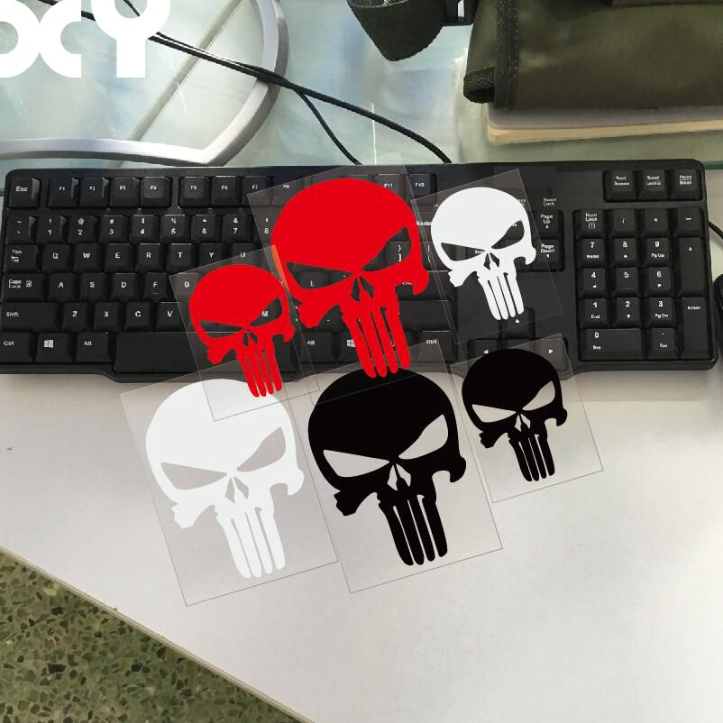 PUNISHER Skull Car Stickers Motorcycle Decals Car Accessories Black/Silver/red(China)