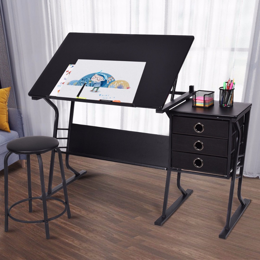 Superbe Giantex Drafting Table Modern Adjustable Drawing Desk Art Craft Hobby With  Stool U0026 Drawers Painting Furniture Set HW52825 In Laptop Desks From  Furniture On ...