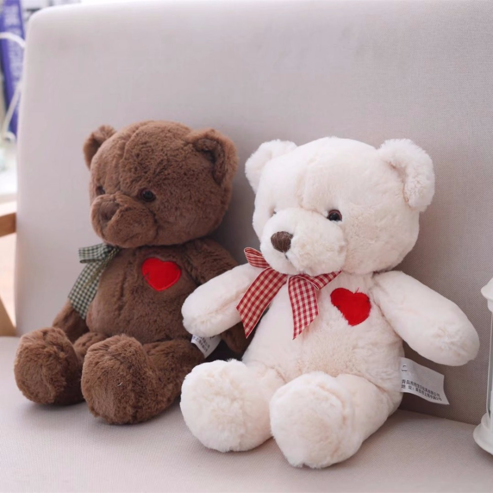 1pc 35cm Lovely Teddy Bear Plush Toys Stuffed Cotton Bear with Heart Doll Gift for Girls Valentine's Gift Kids Brinquedos the lovely bow bear doll teddy bear hug bear plush toy doll birthday gift blue bear about 120cm