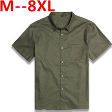 Summer Men's 100% Linen Solid Color Dress Shirts Short Sleeve Shirts Casual Blouses 2017 New Plus Size 10XL 9XL 8XL 6XL 5XL 7XL