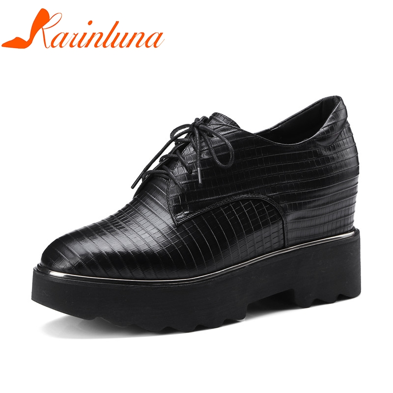 KARINLUNA Large Size 33-42 women's Genuine Leather Square Toe lace-up Wedges Increasing Platform Shoes Woman Casual Spring Flats qmn women genuine leather platform flats women brushed leather height increasing brogue shoes woman square toe creepers 34 42