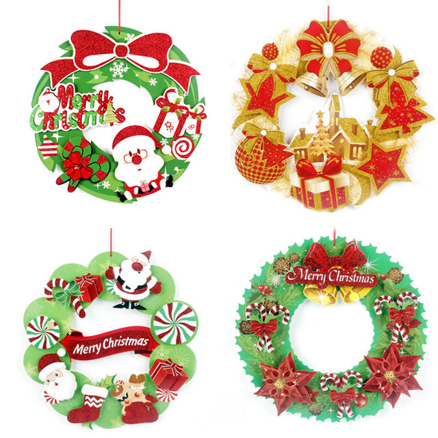 christmas wreath wall sticker colored christmas wreath garland glass showcase window background xmas new year wall