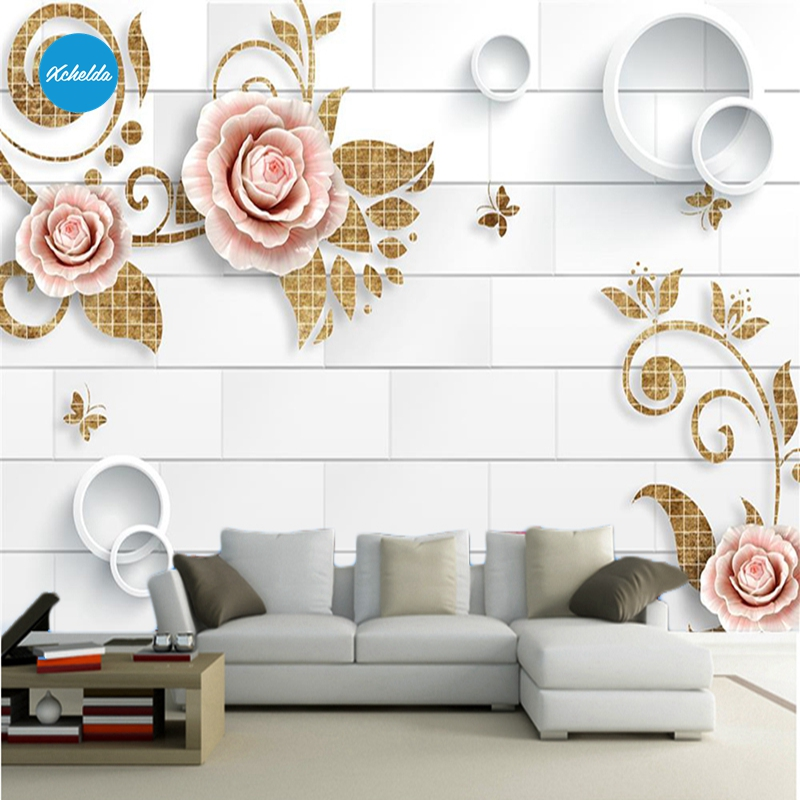 XCHELDA Custom 3D Wallpaper Design Yellow Flower Photo Kitchen Bedroom Living Room Wall Murals Papel De Parede Para Quarto kalameng custom 3d wallpaper design street flower photo kitchen bedroom living room wall murals papel de parede para quarto