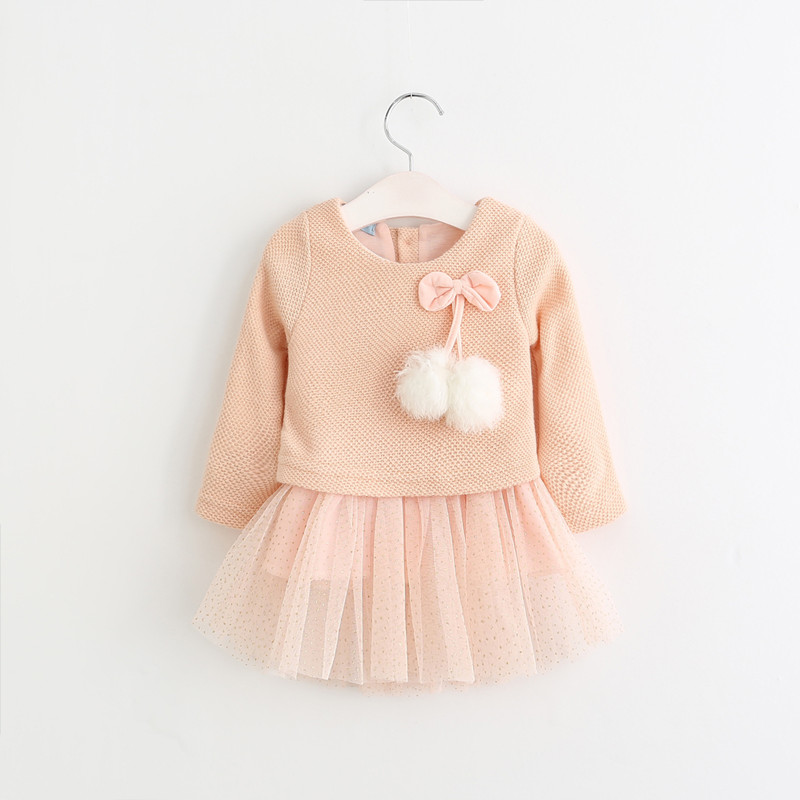 2017 Cute Baby Girls Korean Edition Long Sleeve Dress Babes Spring Autumn and Winter Bowknot Knitting Wool Fluffy Ball Clothing