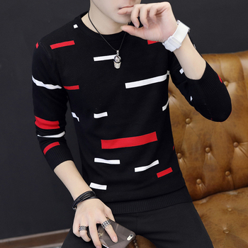 black white and red stripes o neck long sleeve sweater