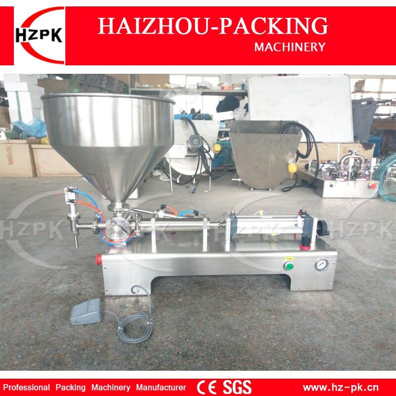 HZPK Semi-automatic Stainless Steel Horizontal Single Head Paste Filling Machine With Hoper Puree Filler 200-1500ml G1WGD1500 tomato paste filler with mixer