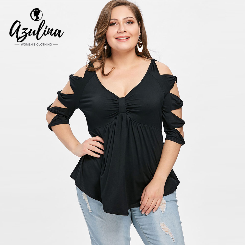 AZULINA Plus Size Bowknot Cut T-Shirts Women T Shirts New Fashion Casual Sexy Deep V Neck Bowknot Ladies Tops Woman Clothes 5XL