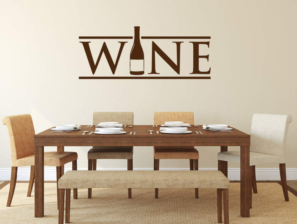 Wine bottle wall stickers for kitchen wall poster for Wine wall art decorating dining room