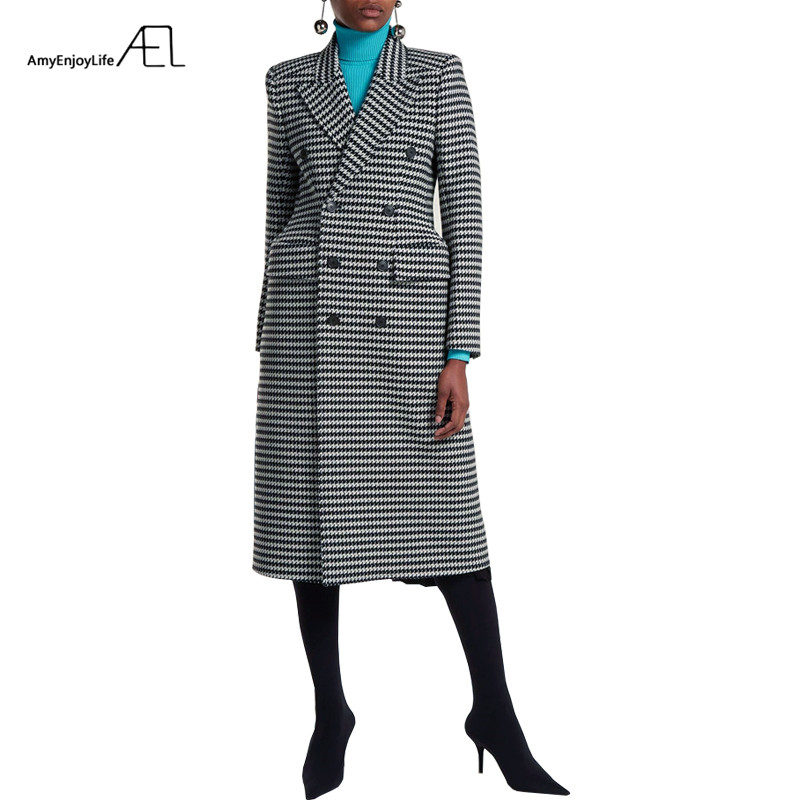 AEL Blazer Female Plaid Lapel Shape Waist Keep Warm Woman Overcoat 2018 Houndstooth Fashion Long Coat Gray