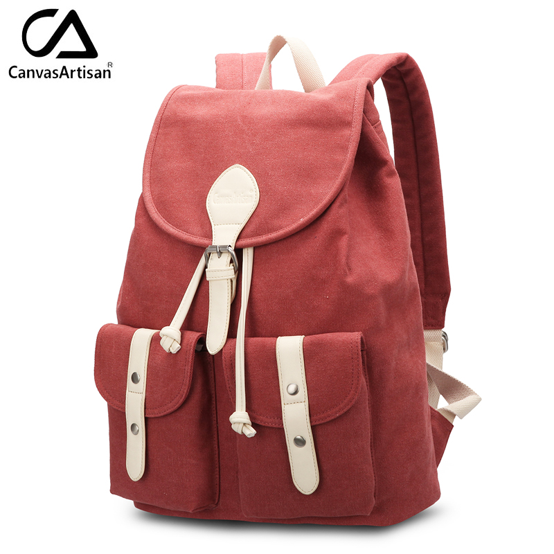 Canvasartisan brand new women backpack vintage travel bag retro style solid color shoulder female bags fashion rivets backpacks retro style two front pockets laptop compartment vintage canvas solid color backpack
