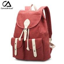 Canvasartisan marke neue frauen rucksack vintage reisetasche retro style solid color schulter weibliche taschen mode nieten rucksäcke