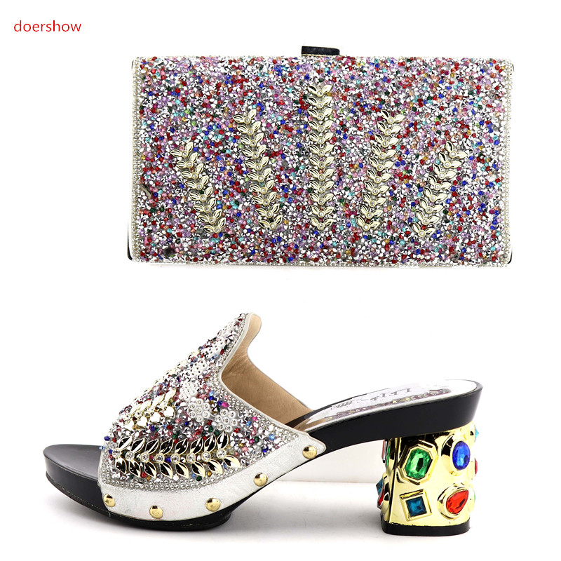 doershow Amazing Italian design silver shoes and bag set with stones fashion sandals with purse for evening party QV1-12doershow Amazing Italian design silver shoes and bag set with stones fashion sandals with purse for evening party QV1-12