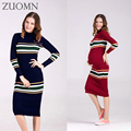 Maternity Knitted Sweater Autumn Dress elasticce Long Sleeves Large Size Sweater Dress Pregnant women  Knitting Dresse YL353