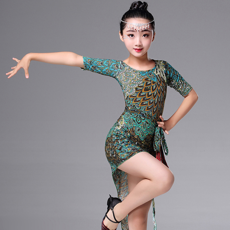 Latin Dance Dress Peacock Print Children Girl Dancing Costume Latin Practice Clothes Latin Competition Performance Dresses