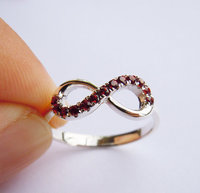 Wellmade solid 925Sterling Silver Red Garnet Friendship Ring, Infinity Ring
