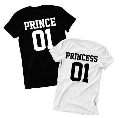 2017 paar Prince 01 T Shirt Prinzessin 01 Brief Drucken T-Shirt frauen Männer Hipster Mode T-shirt Casual Paar T-shirt Für Liebhaber