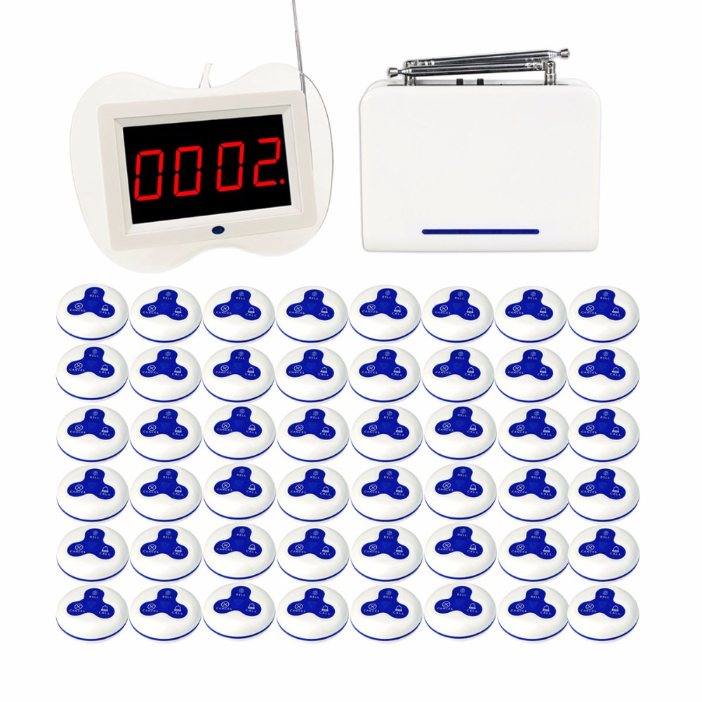 433MHz Wireless Waiter Nurse Calling Pager System Receiver Host +1 pcs Repeater Signal Amplifier + 48pcs Call Transmitter Button 2 receivers 60 buzzers wireless restaurant buzzer caller table call calling button waiter pager system