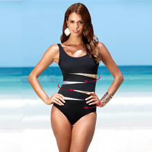 c939e0ffc6fdf 4XL Plus Size Swimwear Solid Bling Gold Swimwear 2018 One Piece Swimsuit  Women Vintage Retro Bathing