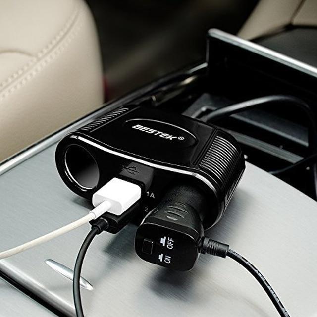 BESTEK 2 Outlet Cigarette Lighter Adapter 3.1A Dual USB Car Charger 12V Car Cigarette Lighter Socket USB Charger Power Adapter
