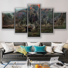 5 Pieces Jurassic World Fallen Ingdom Painting Modern Wall Art Home Decorative Living Room Canvas Print Poster Decor Framework