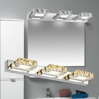 AC 90 260V K9 Crystal LED Make up Mirror Light Cool White Wall Sconces Lamp Stainless Steel Cabinet Vanity Bathroom Lighting Z40