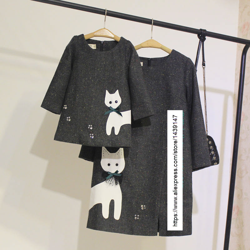 Autumn Winter Kids clothing Family Paternity dress mom baby girl clothes Lady Mother women Cute kitty cat prints woolen skirts 2017 little girl summer dresses cute cartoon cat waist kitty prints fashion kids clothes sassy mint aqua age 2345678 years old