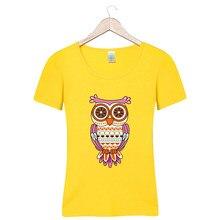 Футболки memon футболка для летняя одежда для девочек хлопковая Футболка 7  выбор цвета Сова узор 52092a9d03d14