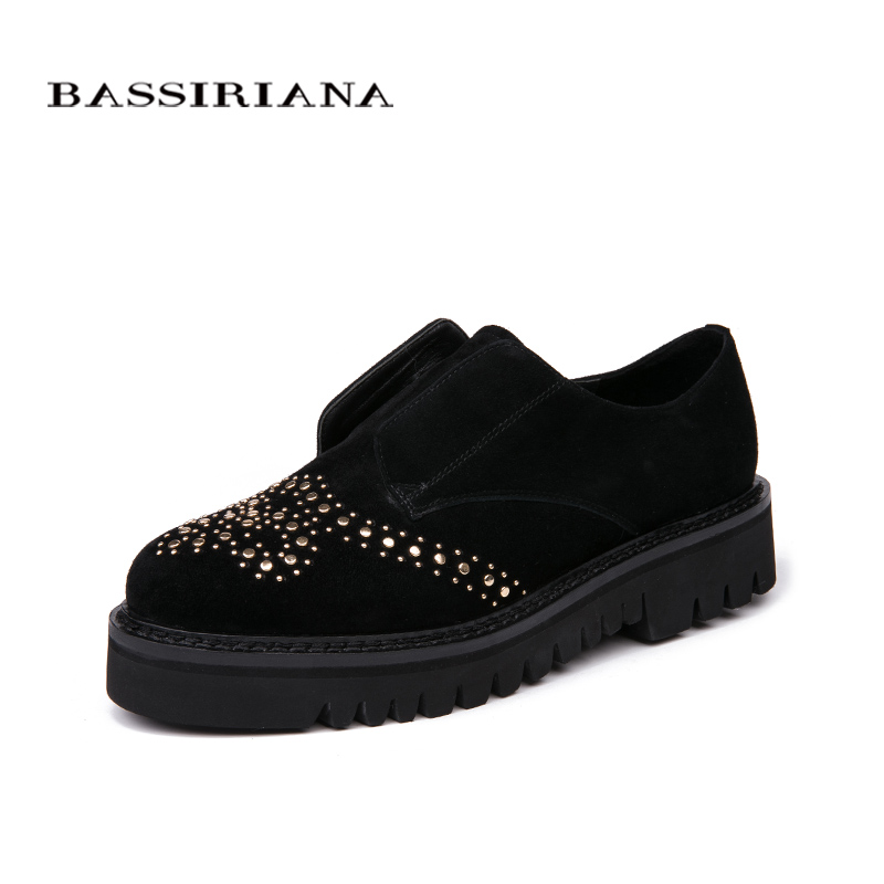 Bassiriana / New 2018 genuine leather Casual without heel women's shoes brand with a round toe cap Black Spring autumn 35 40 siz-in Women's Flats from Shoes    2
