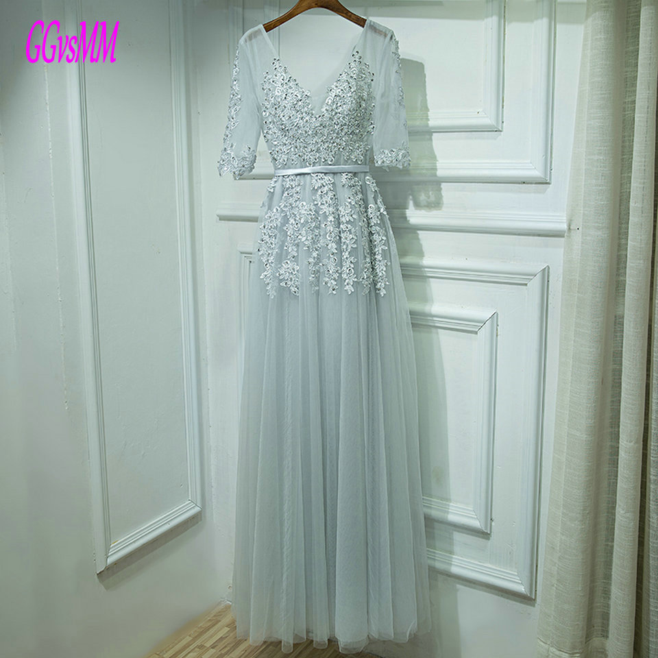 Fashion Silver Evening Dresses 2018 Sexy Evening Gown Long V Neck Tulle Appliques Lace Up Floor Length Women Party Dress prom