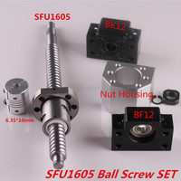 SFU1605 Set SFU1605 rolled ball screw C7 with end machined + 1605 ball nut & nut housing BK/BF12 end support + coupler RM1605