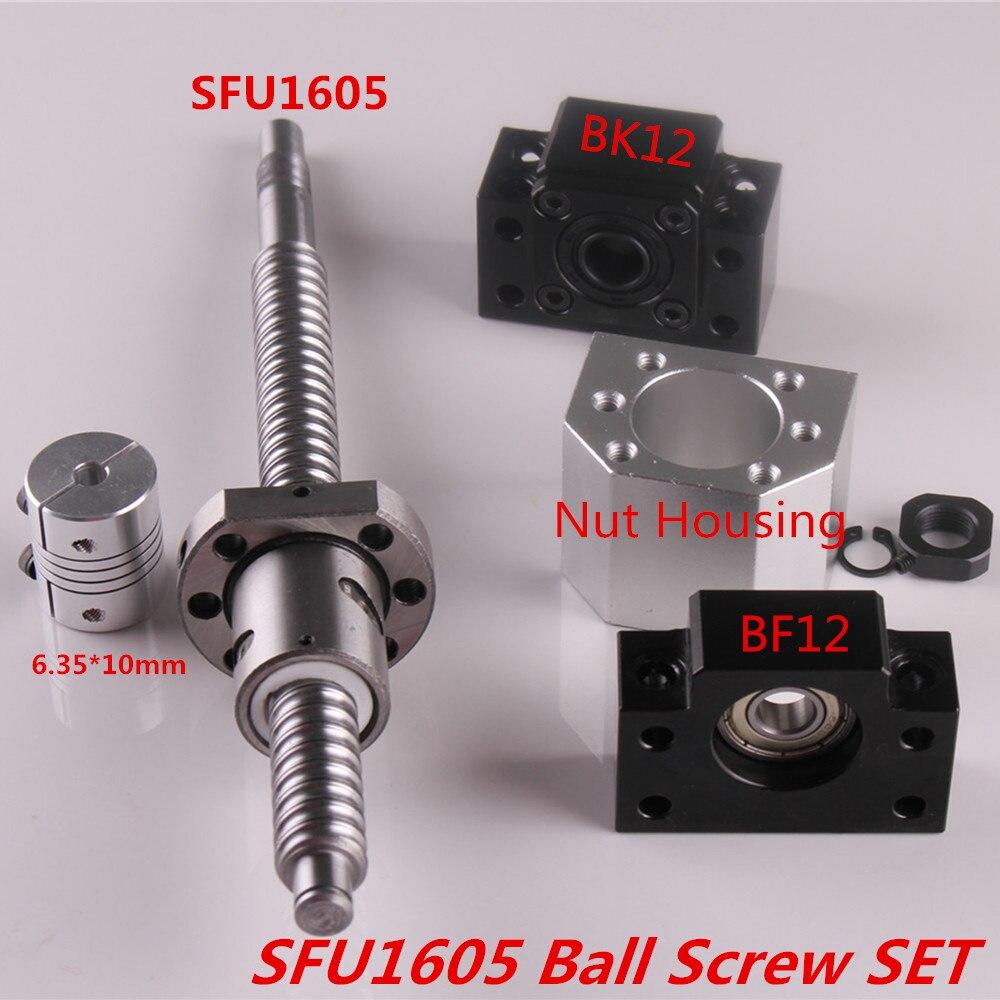 SFU1605 Set SFU1605 vis à billes roulées C7 extrémité usinée + écrou à billes + boîtier d'écrou BK/BF12 support d'extrémité + coupleur RM1605 vis à billes