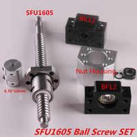 SFU1605 juego SFU1605 tornillo de bola laminado C7 extremo mecanizado + ballnut + carcasa de tuerca BK/BF12 soporte de extremo + acoplador RM1605 tornillo de bola