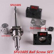SFU1605 zestaw SFU1605 walcowane śruby kulowej C7 koniec obrabiane + Ballnut osłona na nakrętki BK/BF12 wspornik końcowy łącznik RM1605 śruba pociągowa