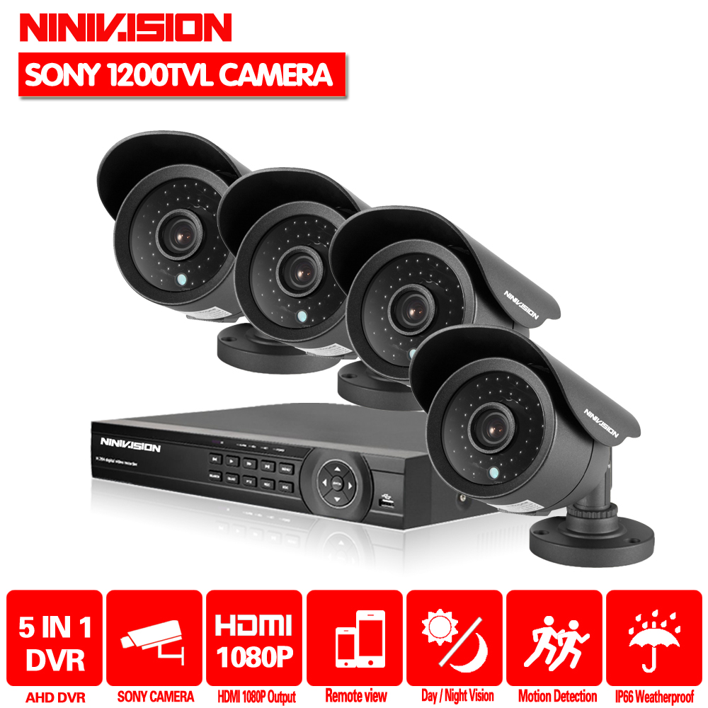 цена на HD video surveillance h.264 8ch hdmi 1080P 1080N DVR video recorder security sony 1200TVL outdoor camera system dvr kit 1TB HDD
