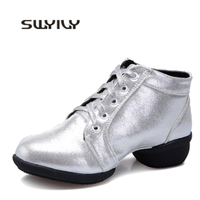 SWYIVY Women's Silver Stage Shoes 4cm Square Heel 2019 Spring Female Gold Modern Dance Shoes Comfortable Big Size Sport Shoes