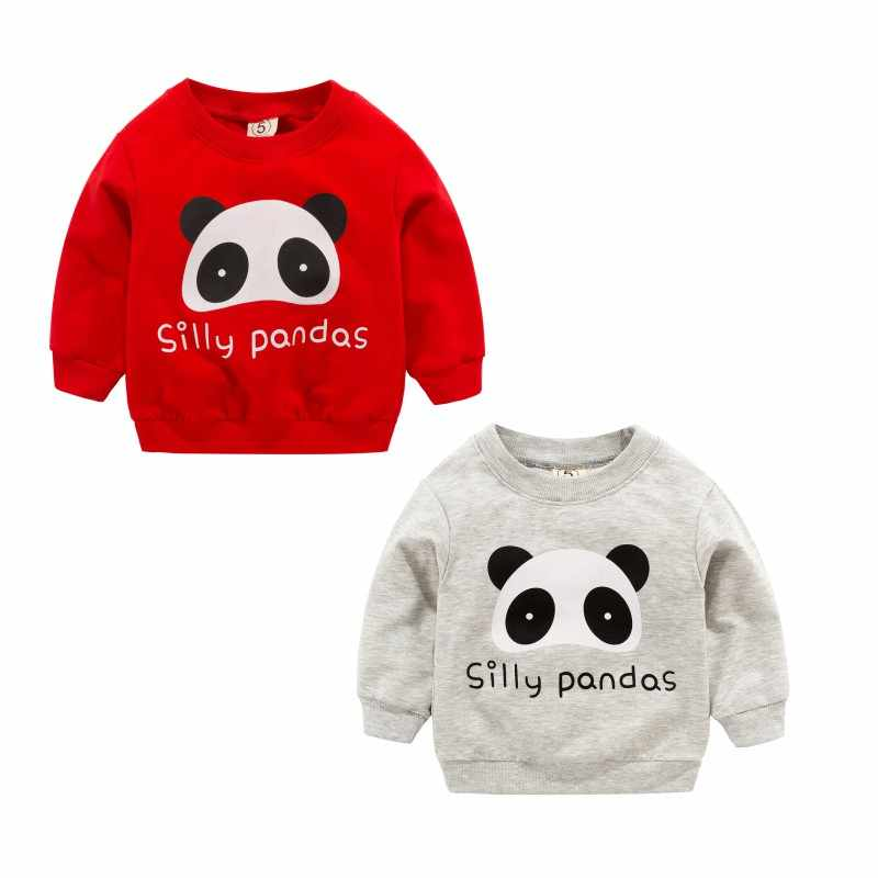 New Baby Kid Boys Girl FashionSweatshirts Winter Spring Autumn Children Cartoon Panda Long Sleeves Sweater Kids T-shirt Clothes