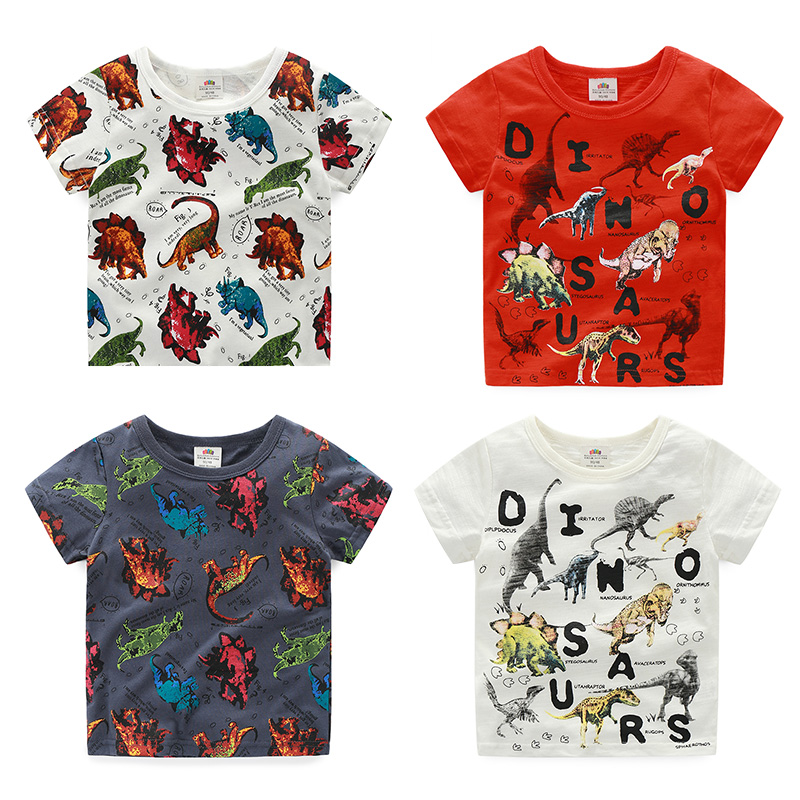 2018 Summer 2 10 Years Old ChildrenS Birthday Gift Clothing Baby Boys Kids Basic Dinosaur Print Short Sleeve Tee T Shirt Tops