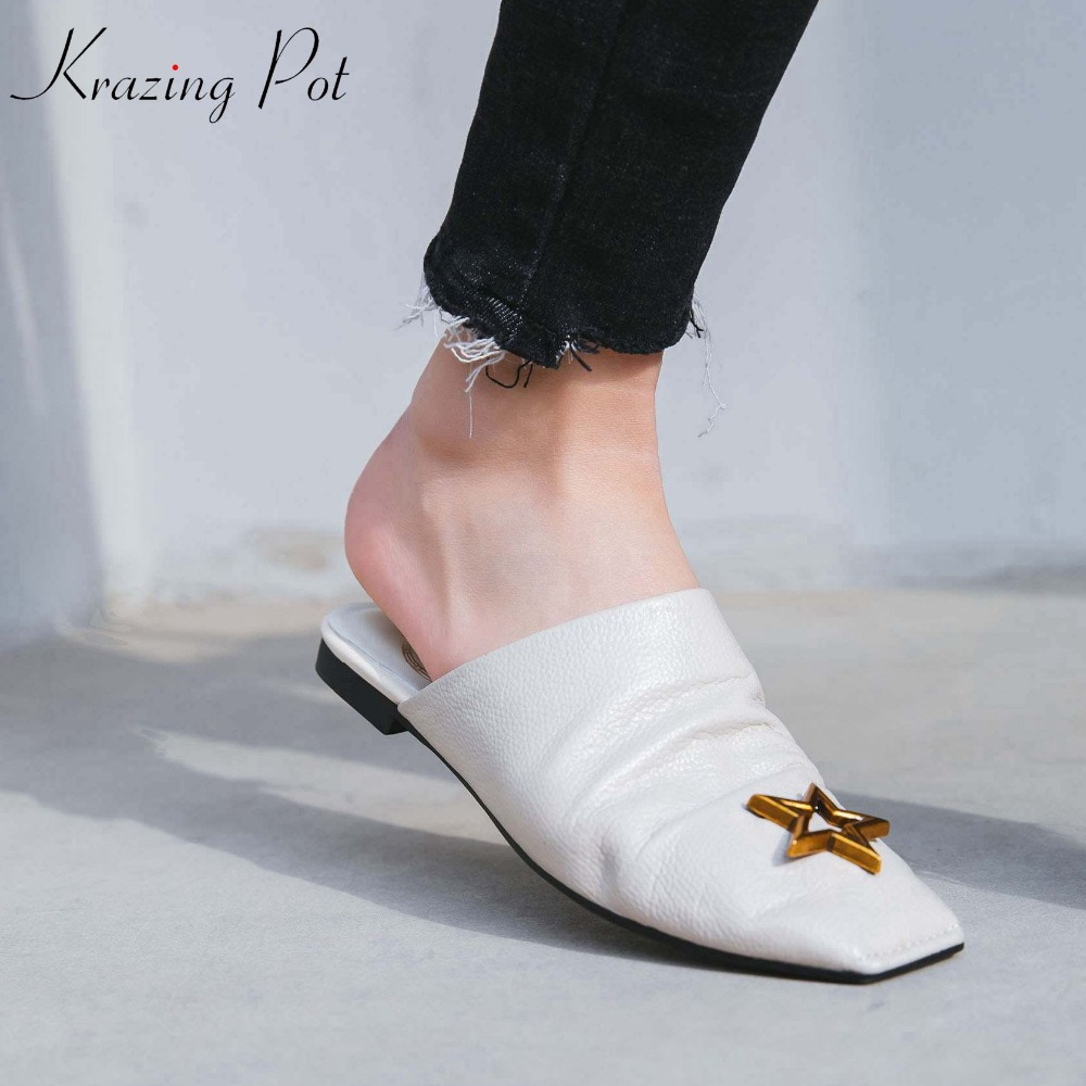 Krazing Pot new arrival genuine leather five-star fasteners mules brand shoes slip on square toe flat with outside slippers L21