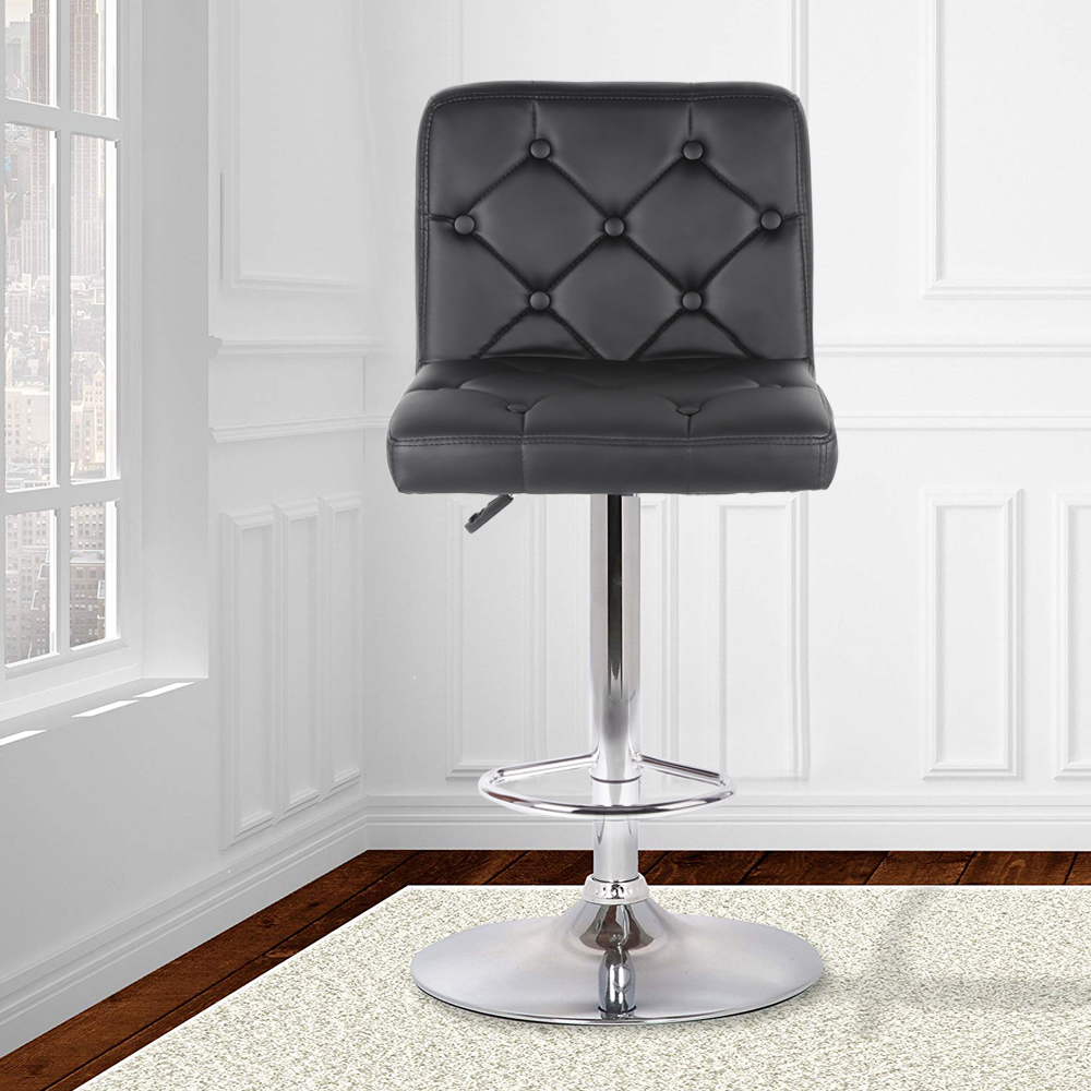 2Pcs/set Button Style Synthetic Leather Swivel Chair Bar Stools Height Adjustable Counter Pub Chair Tabouret De Bar HWC