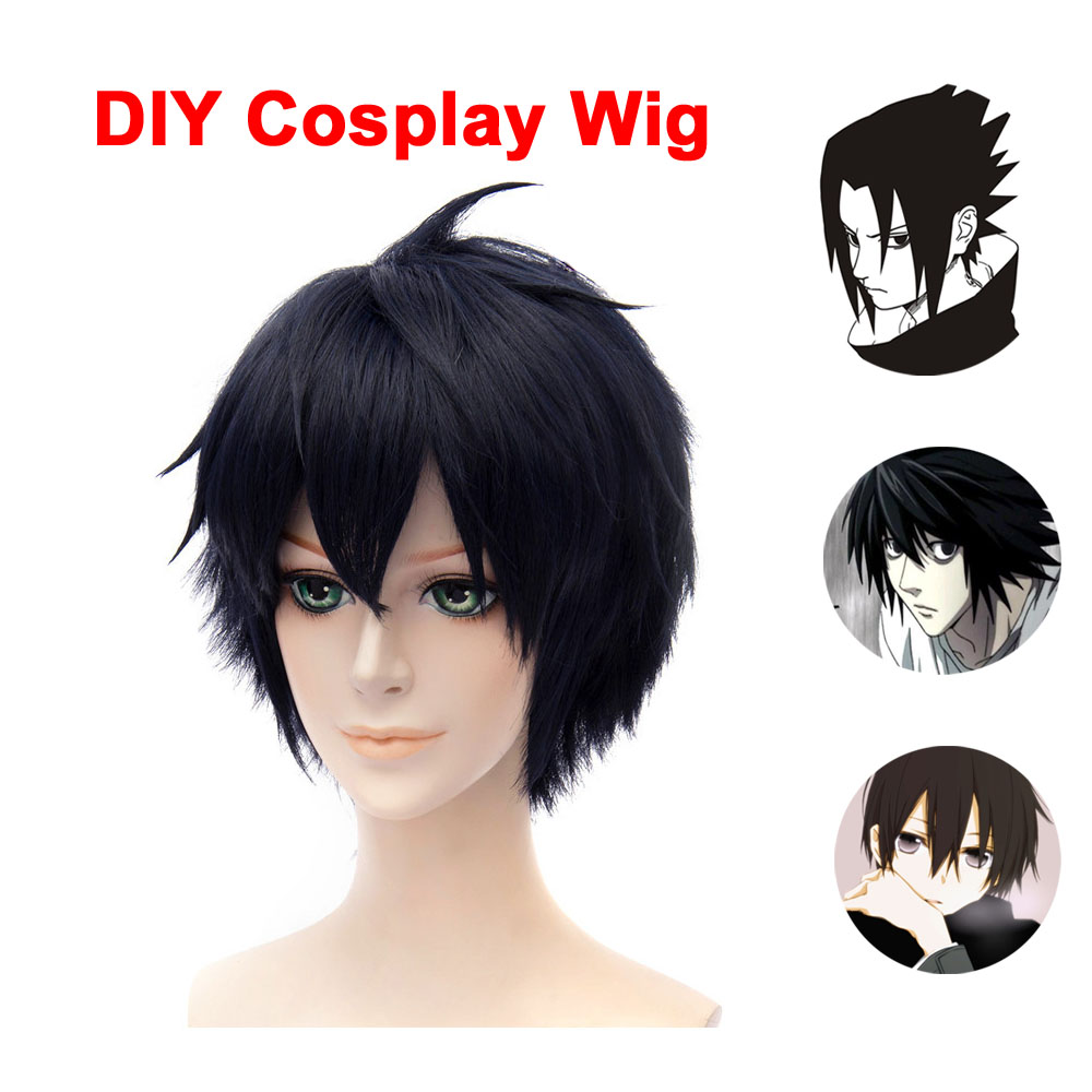 цена на Anime DIY Cosplay Wig Death Note Kirito Uchiha Sasuke Male Black Short Curly Wig Show & Party & Performance Hair Full Wigs