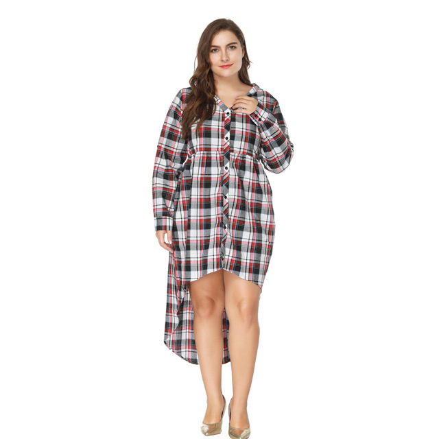 2018 New Desigher Women Dress Oversized 5XL Sexy Gift V Neck Plus Size Plaid Style Full Sleeve Straight Autumn Dresses Vestidos
