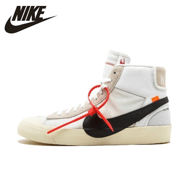 Nike Official Blazer Mid Off White Men's Skateboarding Shoes Classic Anti-slippery Outoor Sports Sneakers # AA3832-100