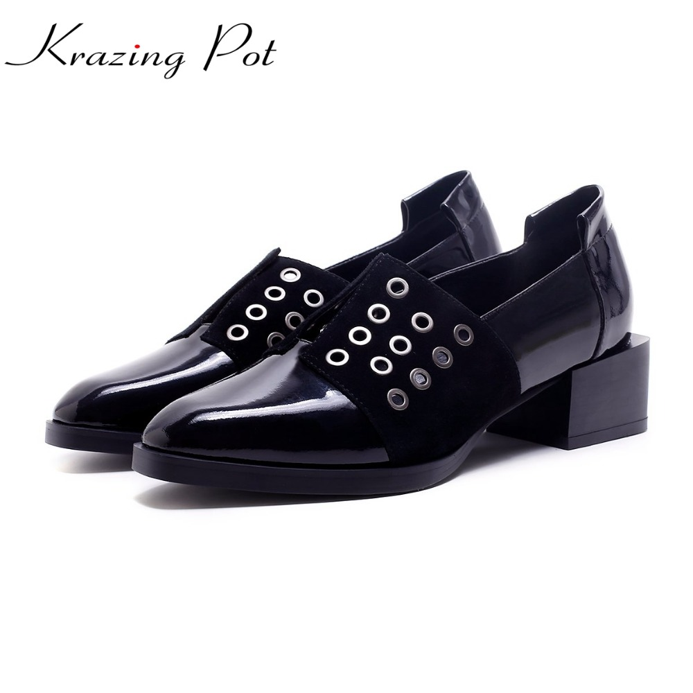 Krazing Pot shoes women rivets fashion genuine leather square toe lazy style med thick heels slip on hollow pumps lady shoes L50 2017 shoes women med heels tassel slip on women pumps solid round toe high quality loafers preppy style lady casual shoes 17