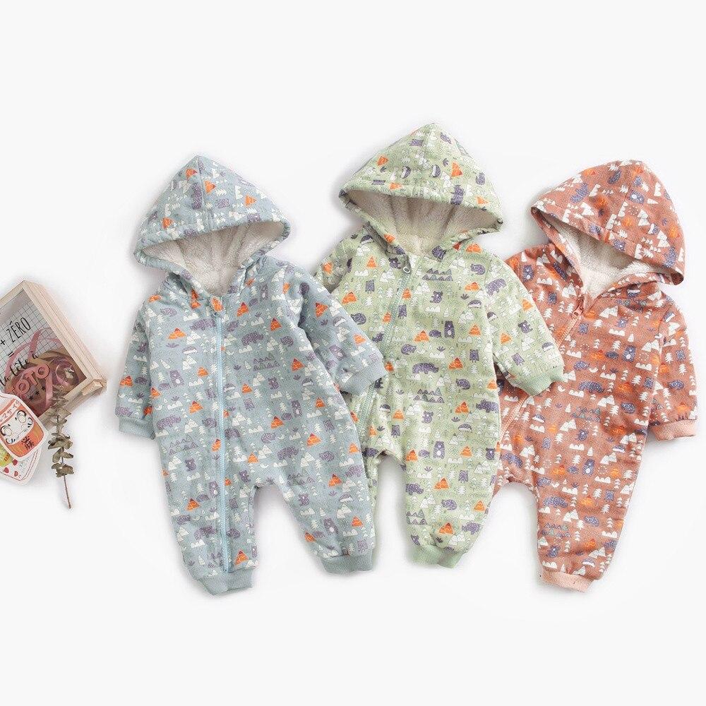 3c7af7f8c55b0 Bébé garçon fille vêtements 2018 nouveau-né hiver barboteuses à capuche  épais coton tenue nouveau